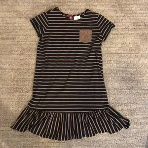 Hanna Andersson striped dress with pocket in front